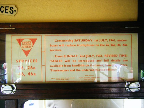 Notice inside the lower saloon of Maidstone No 52, formerly Brighton Corporation 52.