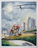 Leaving Town on a Moonlit Road (DrewGaines) Tags: art watercolor drawing painting motorcycles cafe racers racer caferacer caferacers moto guzzi motoguzzi cityscape city night moon full fullmoon birds wire gp motogp explore travel speed ducati bmw aprilla drewgaines drew gaines