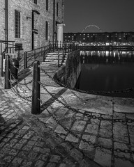 Quiet quayside after dark (Paul Cowan Photography) Tags: monochrome blackandwhite blackwhite bandw bw quayside docks seaport albertdock liverpool portofliverpool merseyside northwestengland