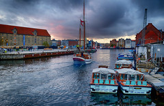 Sunset in Copenhagen, Denmark (` Toshio ') Tags: toshio copenhagen denmark europe european europeanunion sailboat sail canal river water sunset boats fujixe2 xe2 cloudy