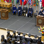 "<b>Commencement 2015</b><br/> Mike Danforth captivates the crowd with his words of wisdom. Commencement 2015. Photo by Aaron Lurth<a href=""http://farm1.static.flickr.com/441/18198720958_2c7aa097ea_o.jpg"" title=""High res"">∝</a>"