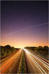 ISS Fly Past (Chris Beard - Images) Tags: uk longexposure england cars june night stars nightscape traffic motorway space lancashire transportation lighttrails m6 iss internationalspacestation bartongrange