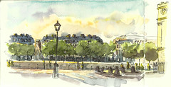 Coucher de soleil_Quai de l'Horloge à Paris (velt.mathieu) Tags: paris watercolor sketch aquarelle croquis