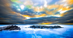 Sunset at Dutton Cove (A Durst Photo) Tags: ocean longexposure sunset sky blur nature water clouds landscape island photography coast rocks day place time outdoor dusk cove south au country dramatic wave australia panoramic kangaroo land type geography colourful reef effect southaustralia kangarooisland shoal dutton middleriver timeofday 500px typeofphotography ifttt duttoncove