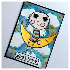 ATC Agatha #believe (Stampinkie) Tags: atc artisttradingcard agatha rubberstamping stampotique distressinkt magdapolakow