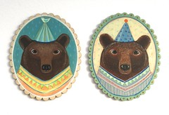 New little bear paintings (em gray) Tags: bear originalpainting teddybear partyhat brownbear animalart menagerie folksy