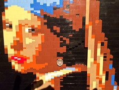 Girl With the Brick Earring (The_Kevster) Tags: cameraphone light sculpture london art classic apple painting gallery shadows lego bricks models exhibition smartphone vermeer bricklane masterpiece eastlondon iphone oldtrumanbrewery girlwiththepearlearring theartofthebrick artwoerk iphone5s