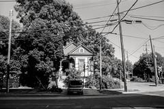 geometry of chance (Super G) Tags: trees blackandwhite bw house film car wires cube telephonepole kodaktmax100 olympusom4 zuiko28mmf28 d7695mins68d11 20150622om4tmax100