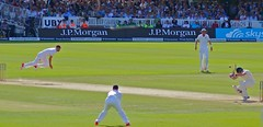 James Anderson in full flight against Australia on day 3 of the second Ashes test at Lord's, London, 18 July 2015 (sbally1) Tags: jamesanderson jimmyanderson cricket lords ashes theashes testmatch london england australia fastbowler bowling testcricket