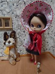 Little Ruby Red Riding Hood (lyndell23) Tags: ruby blythe blythedoll blackberrybushblythestockoutfit meerkats