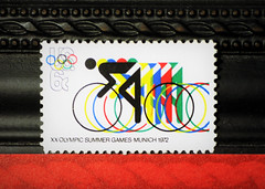 7 Days With Flickr @ Bicycle (sarahellenspringer) Tags: stamp 1972 1970s bicycle olympics 7dwf crazytuesday hobby collection