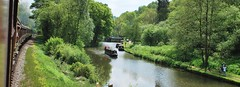 Rail, canal, road and path (flowergirlaaa) Tags: railway train steam canal barge narrowboat path footpath walkers road landscape letterbox