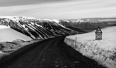 Icelandic fjord hopping ;) (lunaryuna) Tags: iceland northwesticeland westfjords fjord mountainranges mountainpass ontheroad naturealmostabstract landscape blackwhite bw monochrome snowcappedmountains spring season seasonalchange lunaryuna