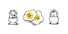Breakfast Eggs (Dave Whitinsky) Tags: illustration breakfast hardboiled boiled eggs fried runny sunnysideup