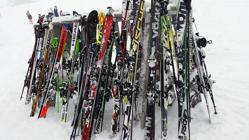 Ski's in a rack