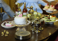 2. Birthday treats (Foxy Belle) Tags: dollhouse 112 scale miniature dining room food china head antique early american table chairs birthday party doll wine cake dessert