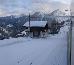 RD386.  On the MOB at Allières. (Ron Fisher) Tags: montreuxoberlandbernois mob snow winter switzerland suisse schmalspurbahn metregauge narrowgauge schweiz voieetroite transport publictransport rail railway ch