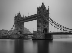 Misty Mystry... (Aleem Yousaf) Tags: london city river thames tower bridge long exposure reflections nikon d800 1835mm wideangle morning walk photo fog low visibility monument historical misty mystry blackandwhite monochrome outdoor architecture