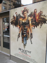 Resident Evil The Final Chapter 1249 (Brechtbug) Tags: resident evil comes home movie poster billboard sidewalk display destruction milla jovovich video game film nyc 02042017 new york city cinema marquee flickr motion december 2017 black white red graphic illustration scifi science fiction post apocalyptic future dystopia futuristic war zone female warrior amazon amazonian 13th street