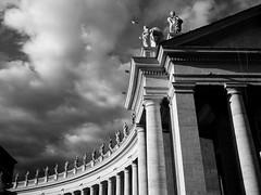 Piazza San Pietro Vatican City (neilhuggan) Tags: architecture rome italy vatican city classical blackandwhite sky clouds exterior columns scuplture
