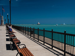 Sunny day by the lake (CTfoto2013) Tags: blue light sun lighthouse lake chicago bench soleil boat sailing shadows lac lakemichigan bleu shore lumiere bateau phare banc voilier ombres lacmichigan