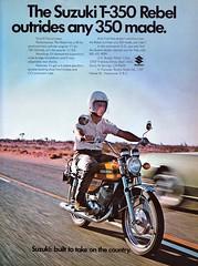 1971 Suzuki T-350 Rebel Motorcycle Ad (Rickster G) Tags: two classic water vintage ads rebel flyer buffalo indy stroke literature kettle mans add le 70s hustler suzuki sebring gt sales brochure triple rare 250 dealer 380 550 750 stroker ramair 2stroke t350 twinshock vjm