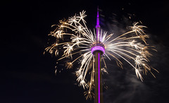 CN Tower Fireworks (dtstuff9) Tags: toronto ontario canada tower night cn am downtown fireworks ceremony games pan closing 2015