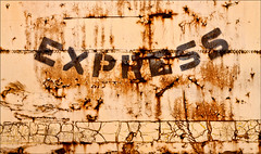 Express Care (Junkstock) Tags: abandoned aged artifact colfax corrosion corroded craquelure decay distressed decayed graphics graphic old oldstuff patina paint peelingpaint railroad relic rust rusty rustyandcrusty rusted textures texture typography type transportation transport trains weathered wisconsin