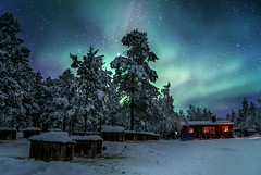 Polar Nights (gideonbryanjay) Tags: dog cold circle stars lights cabin husky sweden freezing arctic adventure aurora remote northern kiruna borealis sleding dogsleding