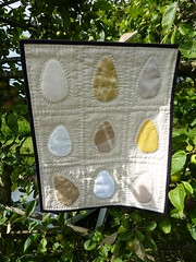 Nine Eggs - Patchwork and Applique Wall Hanging (jkw_fire_horse) Tags: chickens handmade eggs patchwork applique textileart wallhanging artquilt firehorsetextiles