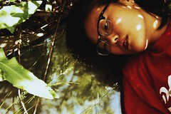 Midwestern Gothic (Erin Bobbitt) Tags: light shadow red portrait woman color abandoned girl canon buildings glasses daylight natural bright bare suburbia portraiture denim series suburbs