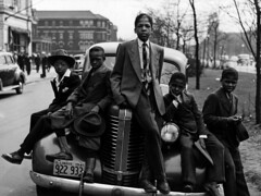 Photograph of Negro boys on Easter morning. Southside, Chicago, Illinois (patw1960) Tags: chicago boys car illinois transportation africanamericans africanamerican 1941 eastermorning southsidechicago russelllee africanamericanchildren sittingonacar negroboys