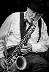 The Jazz man II (creativegaz) Tags: portrait people bw music mono prague jazz sax bnw