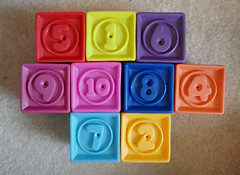 Numbers on squeeky blocks (Monceau) Tags: numbers odc blocks plastic colorful toy