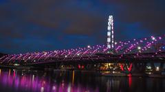 Helix Bridge (elenaleong) Tags: helixbridge singaporeflyer bluehour pedestrianbridge marinabay elenaleong lightbursts