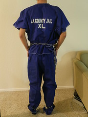 P1030019 (boblaly) Tags: inmate prison prisoner padlock jumpsuit jail waist restraints detention restrained secure arrested arrest handcuffs handcuffed chain cuffed cuffs chained chains convict locked shackled shackles