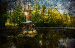Atardecer en el Jardín de Palacio (desde mi corazón) Tags: jardín fuente árboles otoño reflejos textura atardecer agua theawardtree