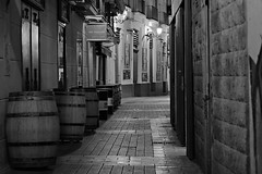 Streets of my city (Daniel Nebreda Lucea) Tags: spain españa europe europa zaragoza night noche city ciudad street calle urban urbano old viejo antiguo casco shadows sombras light luz lights luces travel viajar composition composicion bares pubs life vida canon 50mm stone piedra path paso camino alley callejon lines lineas architecture arquitectura building edificio black white blanco negro monochrome monocromo monochromatic monocromatico barrels barriles barrel alone solo empty vacio aragon tubo