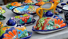 #19/52 Kitchen - Mexican butter dishes (Krasivaya Liza) Tags: nogales mexico mexican border town souvenirs pottery handmade butter dishes kitchen table 19 1952 colorful bold vibrant colors tourists tourism village international calle