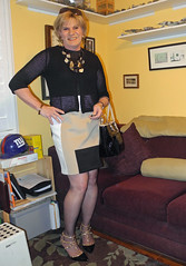 Color Block (krislagreen) Tags: tg tgirl transgender transvestite cd crossdress dress hose cardi pumps patent purse femme feminaized feminization feminine