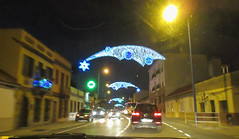 Street with Christmas light, driving at night in La Línea, Spain (Paul McClure DC) Tags: mediterranean dec2016 spain españa andalucía andalusia campodegibraltar lalíneadelaconcepción christmas architecture historic