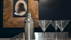 Martini Shaker, Glasses, and Wide Wood Art Frame (Lynn Friedman) Tags: roomandboard decor party celebration host sanfrancisco ca furnishings 94103 fav imagebrief martini glasses alcohol