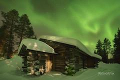 Emerald Retreat (http://www.richardfoxphotography.com) Tags: aurora auroraborealis akaslompolo logcabin forest outdoors nightphotography finland