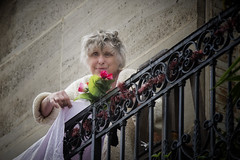 Bonjour! (paulabarrickman) Tags: street portrait woman paris france smiling person outdoor balcony mature friendly daytime lovely parisian greyhaired