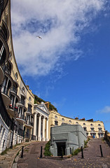 Hastings 2015: Architectural delight (pg tips2) Tags: street blue sky house sussex town seaside theatre seagull sunday columns terraces crescent jonathon hastings 2015