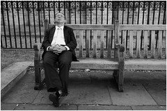 Park life (mesonparticle) Tags: park sleeping man bench asian glasses sitting streetphotography suit fujifilm resting spectacles x100t topgunning
