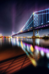 Benjamin Franklin Bridge (mudpig) Tags: longexposure color reflection philadelphia fog skyline colorful cityscape shoreline foggy philly benfranklinbridge hdr humidity humid delawareriver benjaminfranklinbridge mudpig stevekelley stevenkelley