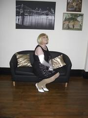 CIMG5236Miss Barbie in black dress with holes revealing white lining (sissybarbie1066) Tags: black dress with holes revealing white lining opera gloves shoes