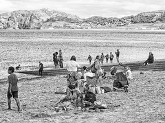 Beach party (Gill Stafford) Tags: white holiday black beach wales mono image resort photograph sands llandudno conwy northwales gillys gillstafford trippersdaytrippers