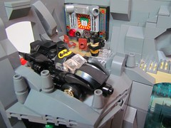 Batcave 4 (Brickadier General) Tags: robin set dark comics miniature batcave play lego bruce wayne harley batman quinn joker knight alfred manor batmobile ideas batwing batboat microscale